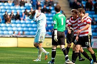 21 04 2012 Coventry, England Coventry City v Doncaster Rovers Richard Keogh Coventry City fouls James Hayter Doncaster Rovers and is shown a red card ...