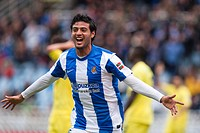 22 04 2012 Zaragoza, Spain Real Sociedad 1 _ 1 Villarreal Real Sociedad´s Carlos Vela celebrates a goal during the Spanish League match played between...