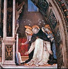Scene from the Life of St Thomas Aquinas Miracle of the Crucifix, by Filippino Lippi, 1488 _ 1493, 15th Century, fresco, m 7,116 x 11,1 wall. Italy, L...