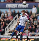 07 05 2012 London, England West Ham United v Cardiff City Mark Hudson, Cardiff City captain and West Ham´s Winston Reid challenge for the ball during ...
