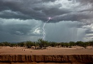 Lightning during desert storm. Time_exposure image of a lightning strike during a thunderstorm over a desert. Photographed in Saguaro National Park, A...