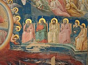 The Last Judgement, by Giotto, 1303 _ 1305 about, 14th Century, fresco, cm 1000 x 840. Italy, Veneto, Padua, Scrovegni Chapel. The Last Judgment apost...