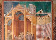 Apparition to fra Agostino and Bishop, by Giotto, 13th Century, 1290 _1295 about, fresco, cm 270 x 230. Italy, Umbria, Perugia, Assisi, Upper Basilica...