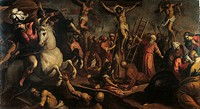 Crucifixion, by Jacopo Negretti known as Palma the Younger, 1595 about, 16th Century, canvas, cm 214 x 393. Italy, Emilia Romagna, Bologna, National P...