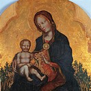 Madonna and Child with Angels, by Gentile di Niccol known as Gentile da Fabriano, 15th Century, Tempera on panel, cm 97 x 70. Italy, Umbria, Perugia, ...