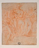 Study for Madonna of the Long Neck, by Mazzola Francesco known as Parmigianino, 16th Century, 1530 _1540 about, red pencil and white chalk, white pape...
