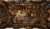 Ceiling fresco. Martyrdom and Glory of St Pantalon, by Giovanni Antonio Fumiani, 1680 _ 1704, 17th Century, canvases mounted on panels. Italy, Veneto,...