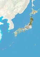Satellite view of Japan with bump effect, showing the region of Tohoku. This image was compiled from data acquired by LANDSAT 5 & 7 satellites combine...