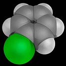 Chlorobenzene, molecular model. Aromatic organic compound, common solvent and widely used intermediate in the production of herbicides, dyestuffs and ...