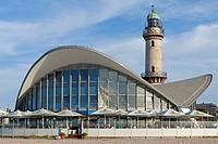 Teapot building and lighthouse, Warnemuende sea resort, Mecklenburg-Western Pomerania, Germany, Europe
