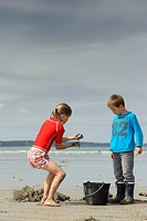 Young anglers digging for sandworms Arenicola marina on the beach, Atlantic Ocean, Finistere, Brittany, France, Europe, PublicGround
