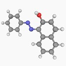 Sudan I Solvent Orange R, molecular model. Organic compound, red_orange powder. Doazo_conjugate dye used to colour waxes, oils petrol, solvents and po...