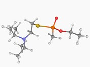 VX, molecular model. Extremely toxic nerve agent. Atoms are represented as spheres and are colour_coded: carbon grey, hydrogen white, nitrogen blue, o...