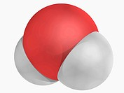 Water, molecular model. Vital substance for all forms of life. Atoms are represented as spheres and are colour_coded: hydrogen white and oxygen red.