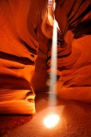 Beam of light, red sandstone of the Moenkopi formation, rock formations, colours and textures in the Upper Antelope Slot Canyon, Page, Navajo Nation R...