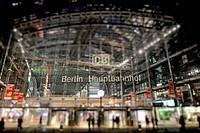Night shot, Berlin Central Station, miniature faking, smallgantics, tilt-shift effect, Mitte district, Berlin, Germany, Europe, PublicGround