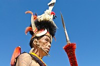Konyak warrior with full gear at the annual Hornbill Festival in Kohima, India, Asia