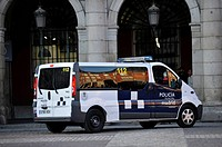 Police vehicle of the city police, Plaza Mayor square, Madrid, Spain, Europe, PublicGround