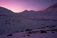 Lights during the polar night, pink-coloured sky in with a snow-covered rocky glacial landscape, Spitsbergen, Svalbard, Norway, Europe