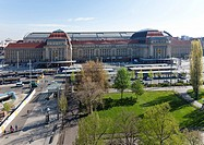 Central railway station and its forecourt, Leipzig, Saxony, Germany, Europe
