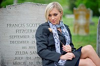 Blonde woman at F Scott Fitzgerald Gravesite, Rockville Maryland