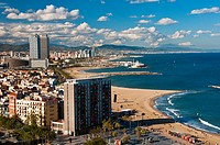 Panoramic view over Barceloneta and its beach, Barcelona, Catalonia, Spain