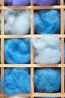 blue wools in boxes