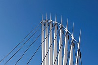 Detail of the MediaCityUK swing footbridge over the Manchester Ship Canal  Salford Quays, Manchester, UK