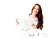 happy woman in bed with a newspaper