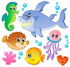 Sea fishes and animals collection 4 _ picture illustration.