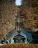 Picture shows funicular going to the 'Thermes de Spa' building in the center of Thermal city of Spa