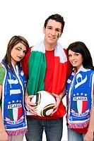 Three Italian football supporters