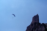Peyrepertuse Castle France Aude In The Pyrenees Mountains,Paraglider By Castle