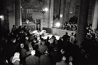 Pope Paul VI kissing the Rock of Calvary in the Church of the HolySepulchre. Palestine, January 1964