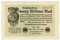 Front of a banknote, Reichsbank banknote, 20 Million Marks, 1923, inflation money, Germany, Europe