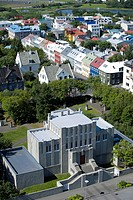 Einar Jonsson Museum from the Tower of the Hallgrímskirkja church, Reykjavik, Iceland, Europe
