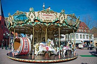 Historical roundabout or carrousel for kids, Haguenau, Alsace, France, Europe