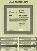 Bearer warrants for shares of BASF Overzee NV, Willemstad, Curacao, 1969