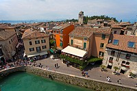 View from the Castello Scaligero fortress on the old town, peninsula, Sirmione, Lake Garda, Brescia province, Lombardy, Italy, Europe