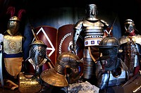Armours and arms of Roman gladiators, warriors and slaves, special exhibition at the Colosseum, Rome, Latium region, Italy, Europe
