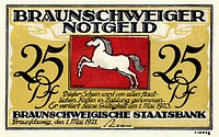 Emergency currency from Brunswick, banknote, Braunschweiger Staatsbank, 25 pfennig, Germany, Europe, 1921