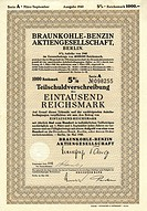Historic security, partial debenture, 1000 reichsmarks, 1940, Braunkohle_Benzin Aktiengesellschaft, BRABAG, Berlin, Germany, Europe