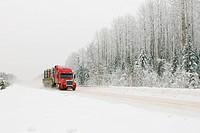 red truck on winter road