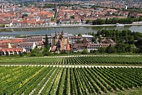 View from Festung Marienberg, Fortress Marienberg, on church of St. Burkard and the Main River, Wuerzburg, Lower Franconia, Franconia, Bavaria, German...