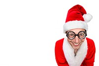 Smiling man dressed as Santa Claus wearing oversized novelty glasses