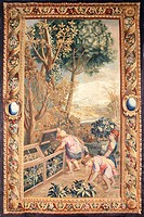 18th century Gobelins tapestry based on cartoons designed by Charles Le Brun depicting putti working in a garden.  Roma, Palazzo Braschi, Museo Di Rom...