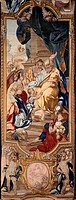 Savoy manufacture tapestry featuring Cyrus as a child, from the series dedicated to the History of Cyrus, 18th century.  Roma, Palazzo Del Quirinale C...