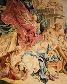 Detail of an 18th century Beauvais tapestry based on design by Francois Boucher depicting Bacchus and Ariadne, from the series The Love of the Gods, 1...