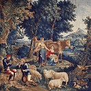 18th century Teniers tapestry based on cartoon by Werniers, around 1759, Lille manufacture.  Roma, Palazzo Del Quirinale Collezioni Della Presidenza D...
