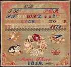 Beginner´s work, embroidered in woolen cross_stitch on etamine, signed and dated by the maker, Anna Thiers, 1859